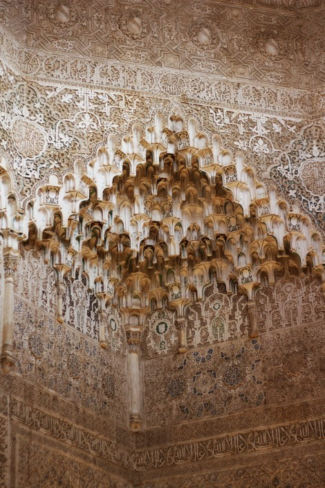 Intricate ceiling at the Nasrid Palace, The Alhambra, Granada