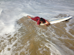 One of many failed attempts at surfing.